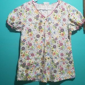 Other - Floral scrub top sx med